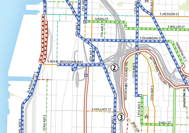 Small section of bike master plan map centered around Airport and Royal Brougham